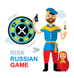 Russian roulette concept flat style vector