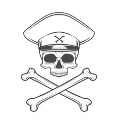 Skull with general hat and cross bones dead crazy vector