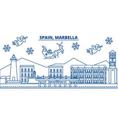 Spain marbella winter city skyline merry vector