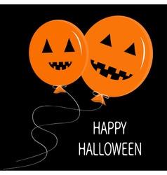 Two cute cartoon funny orange balloon pumpkin vector