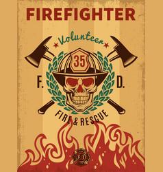 Vintage firefighter poster vector