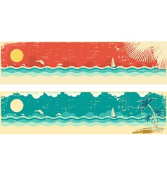Vintage nature seascape banners vector