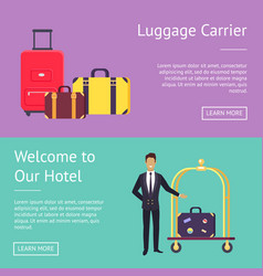 welcome to our hotel luggage carrier greeting vector image vector image
