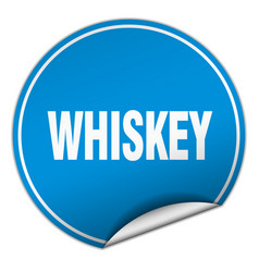 Whiskey round blue sticker isolated on white vector