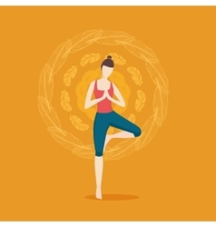 Woman yoga girl on a bacgkround with ornament vector