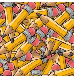 Seamless cartoon pattern with many pencils vector
