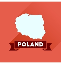 Flat icon with long shadow map of poland vector