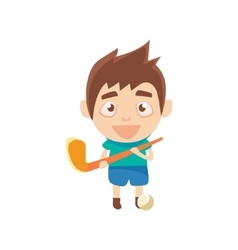 Boy sportsman playing hockey on grass part of vector