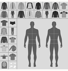 Man clothing outlined template set vector image