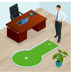 Businessman playing mini golf in his office vector