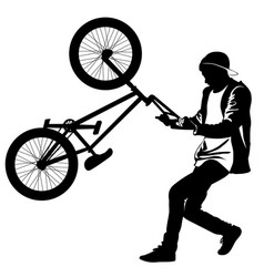 silhouette of a teenager with a bicycle vector image