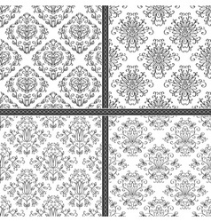 Damask white and black seamless pattern vector