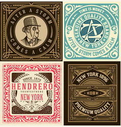 Set of 4 old cards vector