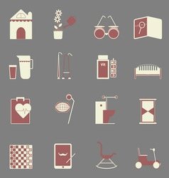 Elderly related color icons on gray background vector