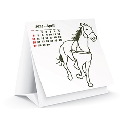 April 2014 desk horse calendar vector