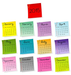 2015 calendar made of colored sheets of paper vector image