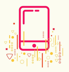 Mobile phone on abstract colorful geometric light vector