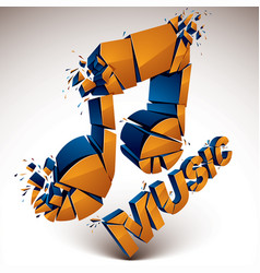 3d orange demolished musical notes music word vector