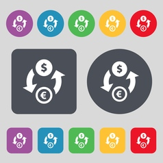 Currency exchange icon sign a set of 12 colored vector