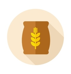 Sack of grain flat icon with long shadow vector