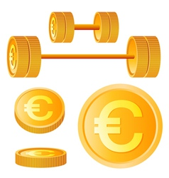 Dumbbell of golden discs with euro vector