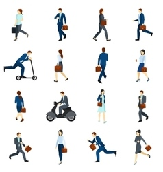 Businesspeople going to work flat icons set vector