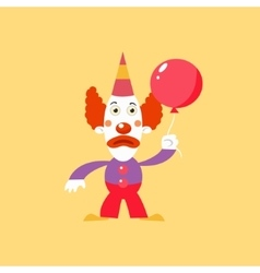 Unhappu clown holding balloon vector