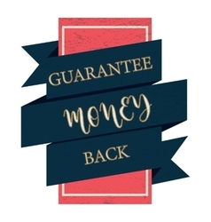 Guarantee money back black label vintage style vector