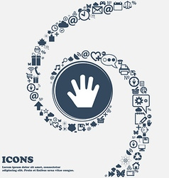 Hand icon sign in the center around the many vector