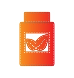 Supplements container sign orange applique vector