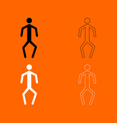 A man with crooked legs black and white set icon vector