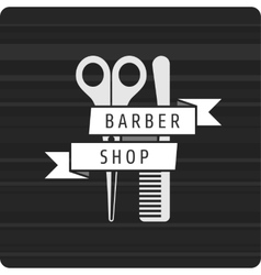 Barbershop logo scissors and comb vector image