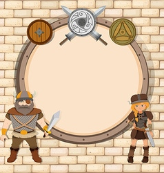 Border paper with vikings theme vector