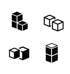 box interlace icons set vector image vector image