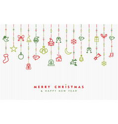Christmas and new year ornament outline icon card vector