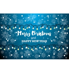 Christmas card with neon light bulbs vector