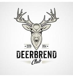 Deer head design element in vintage style vector