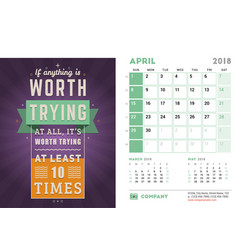 Desk calendar template for 2018 year april design vector
