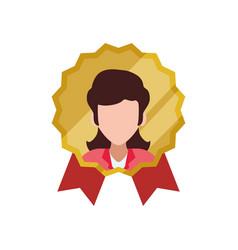 Emblem badge faceless woman vector