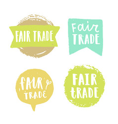 Fair trade hand drawn badges vector