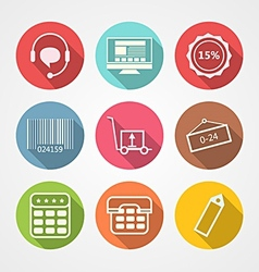 Flat icons for internet retail service vector image vector image