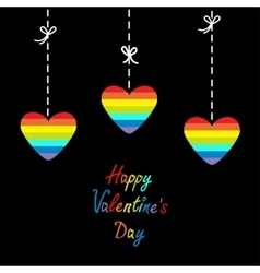 Happy Valentines Day Love card Hanging rainbow vector image vector image