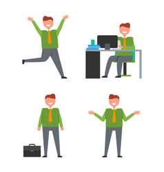 icons with office worker vector image vector image