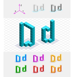 Isometric font from the cubes Letter D vector image