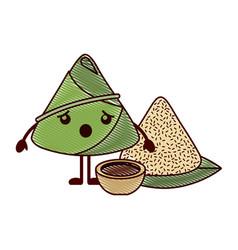 Kawaii surprised rice dumpling with sauce cartoon vector
