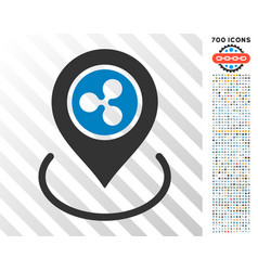 Ripple location flat icon with bonus vector