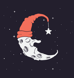 sleeping crescent in hat vector image