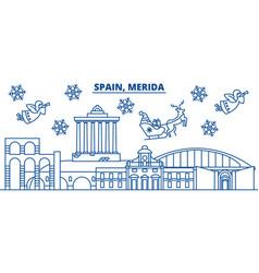 Spain merida winter city skyline merry christmas vector