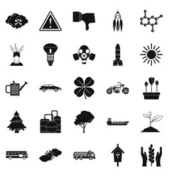 thermal icons set simple style vector image vector image