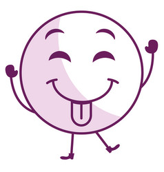 Tongue out face emoticon kawaii character vector
